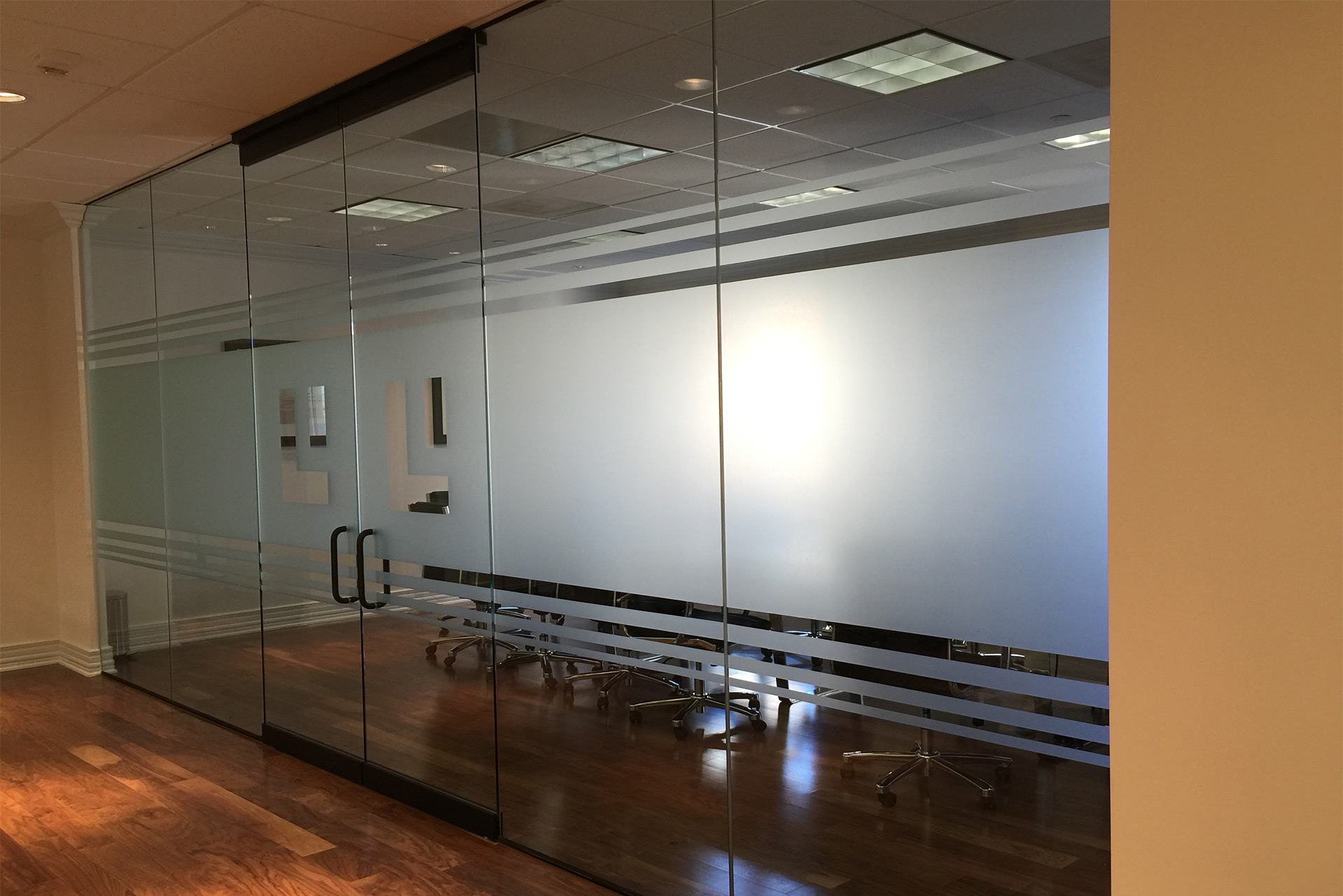 Etched window film with Branding